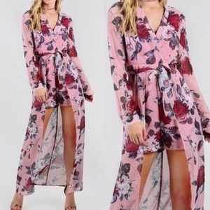 🆕Pink chiffon floral romper with open maxi bottom